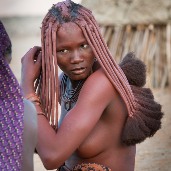 Himba Woman 9, Combing Hair