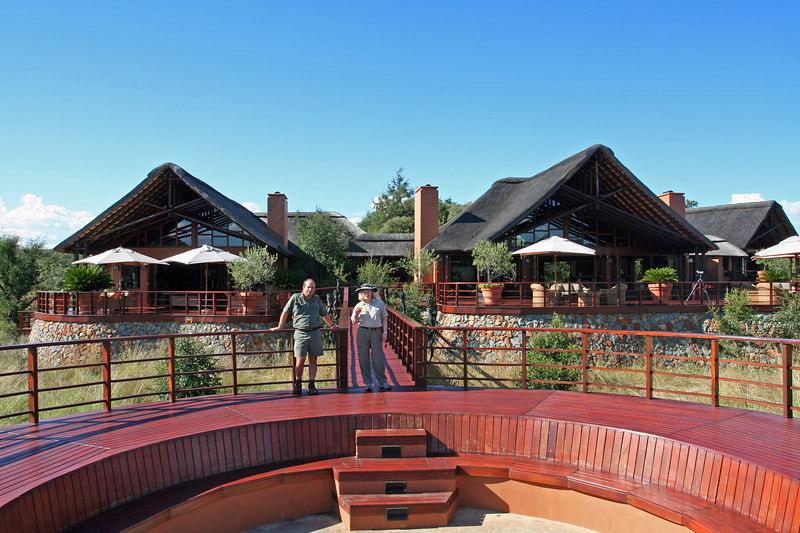 Left side is the Dining Room and the right side is the Reception, Lodge and Bar area. The front area is the Boma.