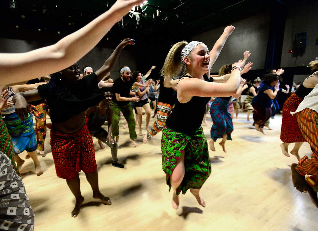 . Nicole Armstrong jumps off the floor for her  final for the African Dance course at CU which was open to the public in the theater building on the University of Colorado Boulder Campus Sunday. For more photos and a video go to dailycamera.com. Paul Aiken Staff Photographer May 6 2018