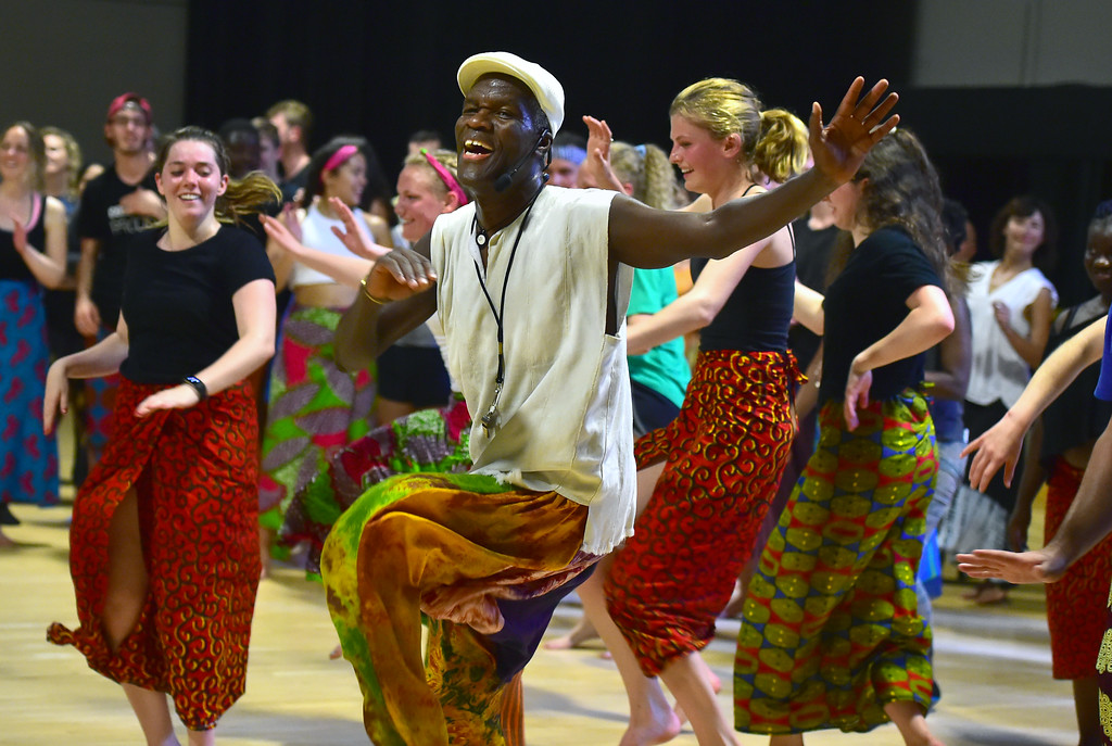 . Instructor Nii Armah Sowah leads his class in dance during a final open to the community for an African Dance course in the theater building on the University of Colorado Boulder Campus Sunday. For more photos and a video go to dailycamera.com. Paul Aiken Staff Photographer May 6 2018
