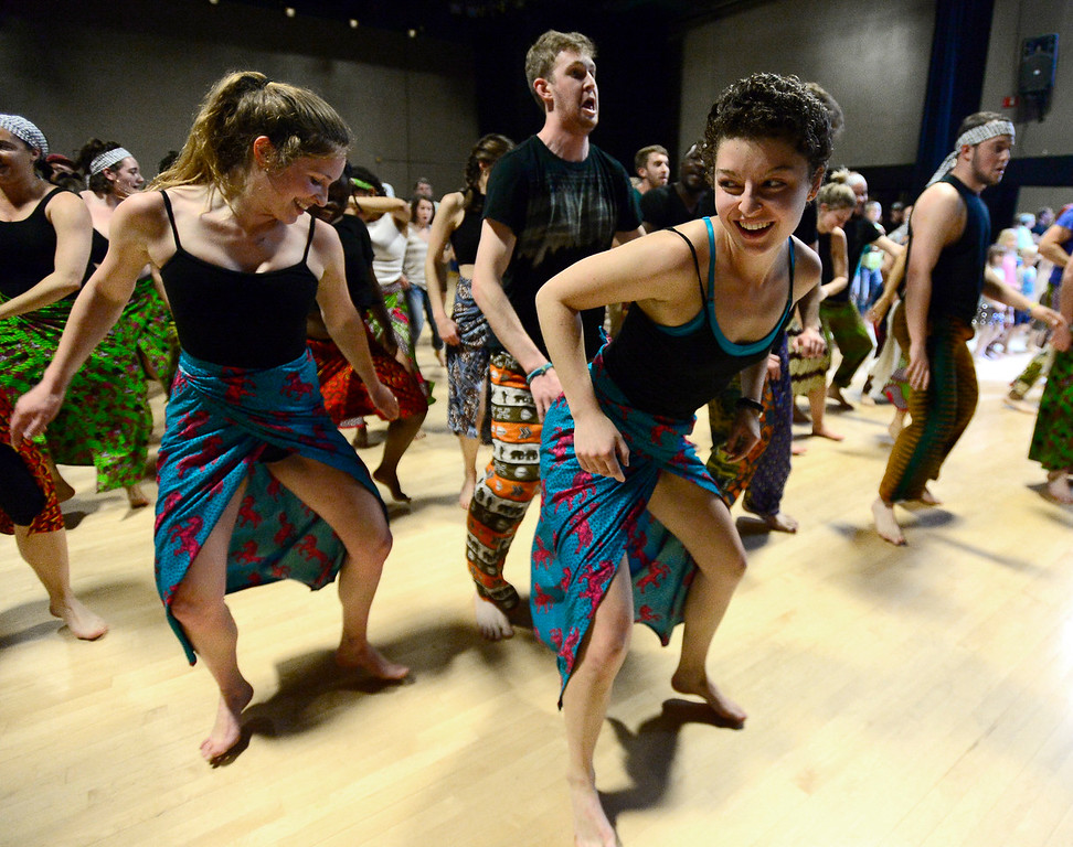 . Catherine Jansury, left and  Mattie McGarey, damce in their  final for the African Dance course at CU which was open to the public in the theater building on the University of Colorado Boulder Campus Sunday. For more photos and a video go to dailycamera.com. Paul Aiken Staff Photographer May 6 2018