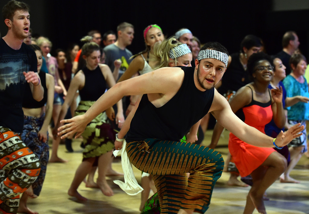 . Andrew Callahan gets out in front to lead a dance in the  final for his  African Dance course at CU was open to the public in the theater building on the University of Colorado Boulder Campus Sunday. For more photos and a video go to dailycamera.com. Paul Aiken Staff Photographer May 6 2018