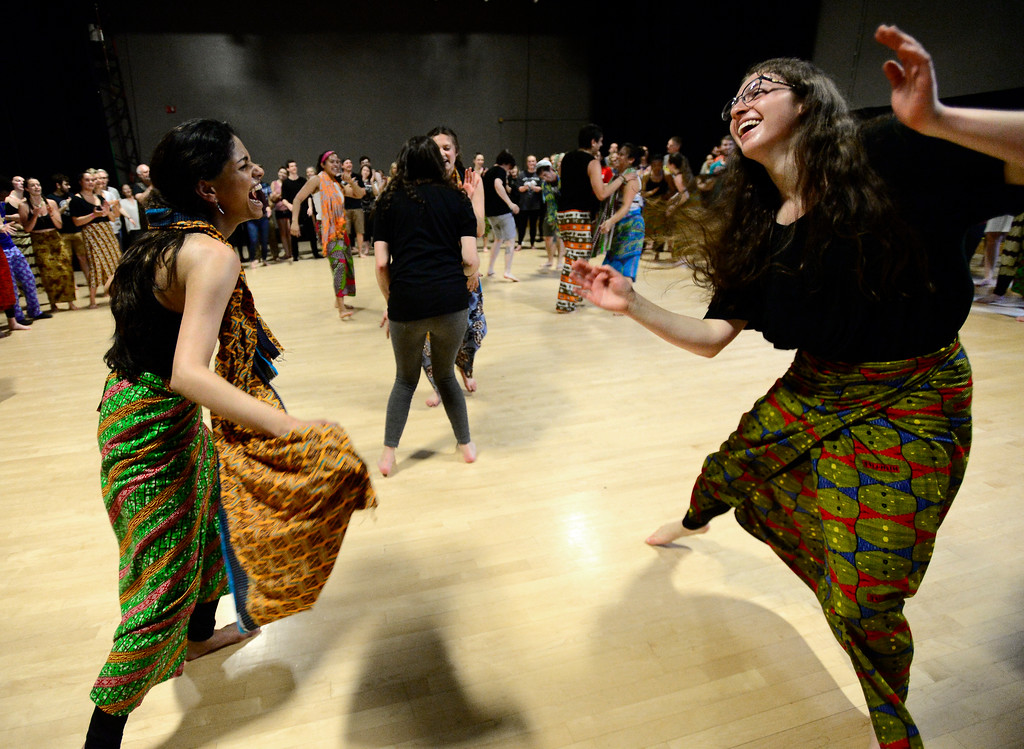 . Nivetha Muruganantham, left and  Lexi Nutkiewicz, dance together in the final for the African Dance course at CU which was open to the public in the theater building on the University of Colorado Boulder Campus Sunday. For more photos and a video go to dailycamera.com. Paul Aiken Staff Photographer May 6 2018