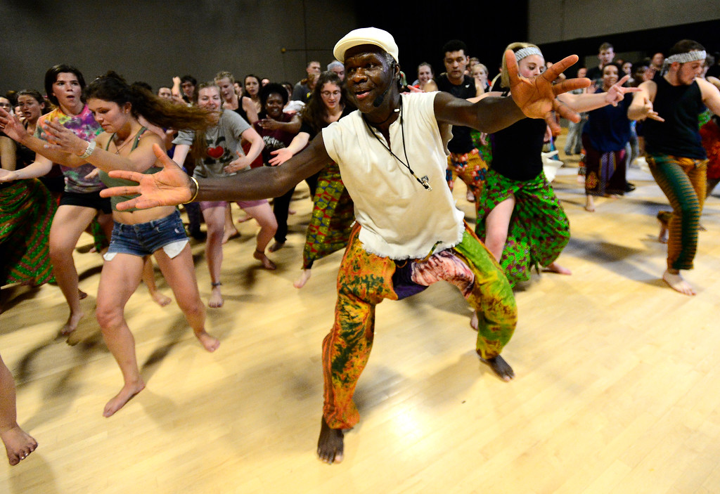 . Instructor Nii Armah Sowah leads his African Dance class in dance during the final which was to the community in the theater building on the University of Colorado Boulder Campus Sunday. For more photos and a video go to dailycamera.com. Paul Aiken Staff Photographer May 6 2018