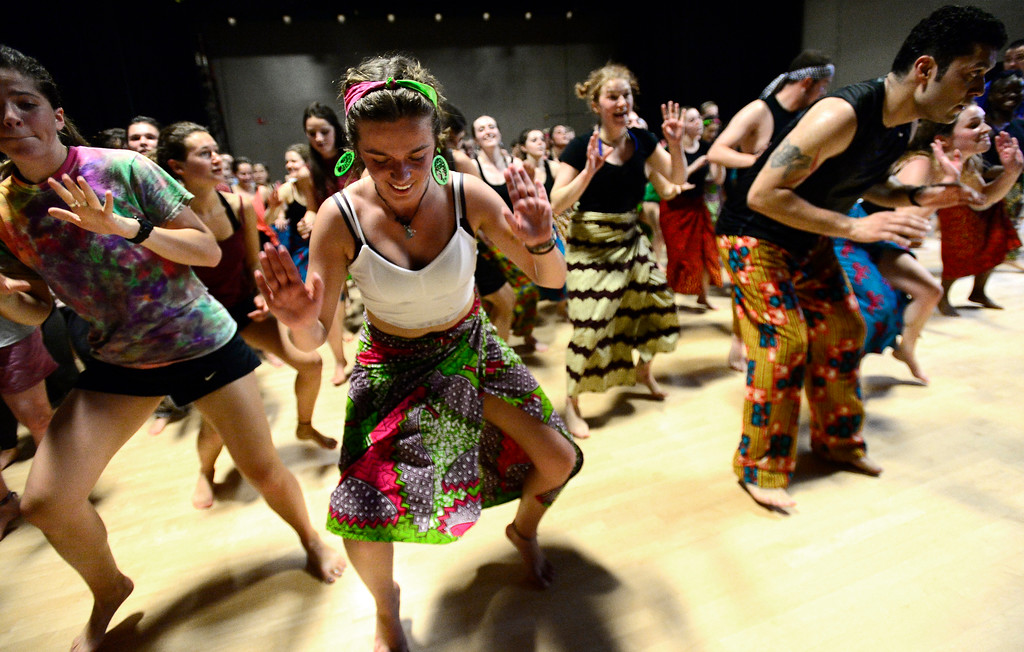 . Ciera Dykstra, dances for her  final for the African Dance course at CU was open to the public in the theater building on the University of Colorado Boulder Campus Sunday. For more photos and a video go to dailycamera.com. Paul Aiken Staff Photographer May 6 2018