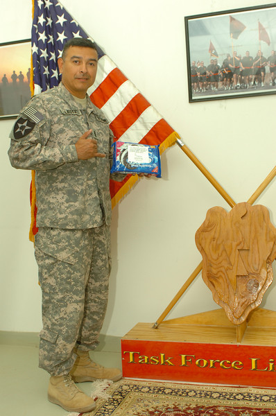 Command Sargeant Major Frank Leota <br /> managed the distribution.