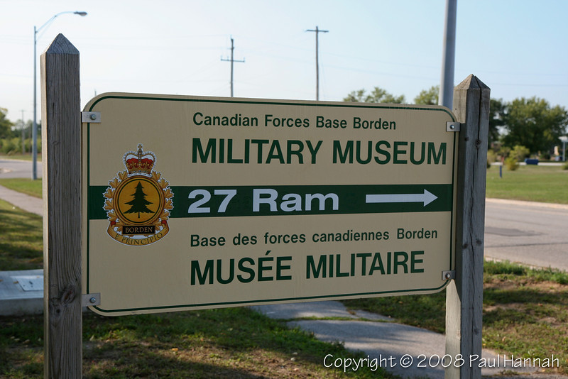 CFB Borden Museum Sign near Parking Area