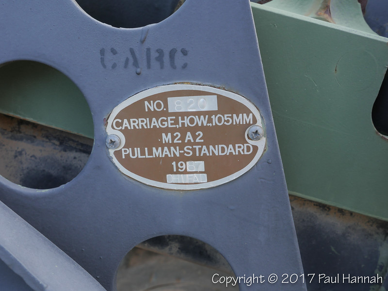 M2A2 105mm Howitzer Data Plate