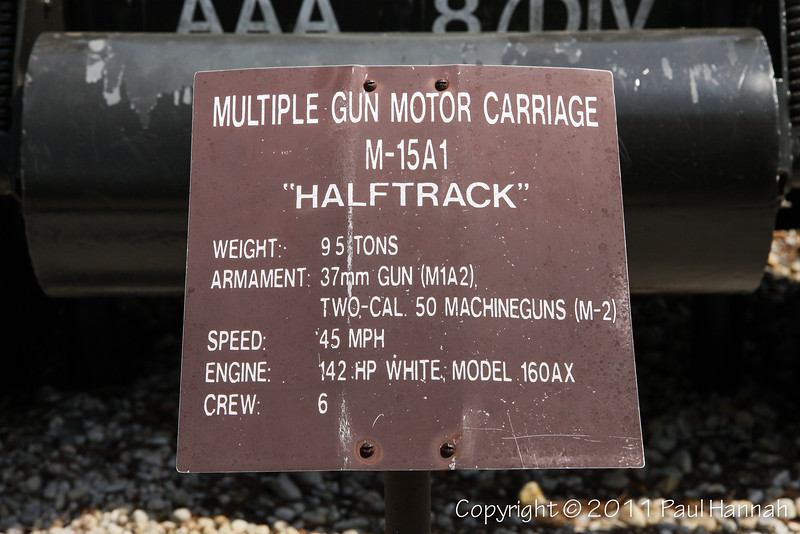 M15A1 Halftrack GMC SN 2156 Placard
