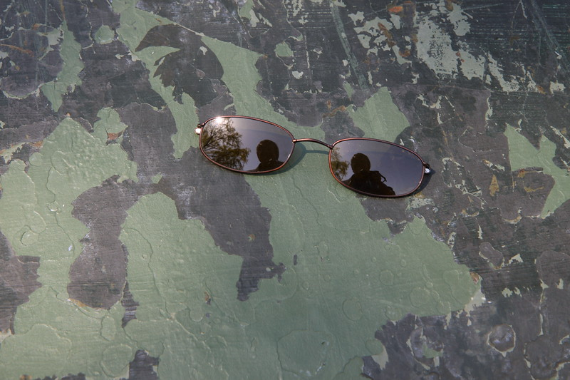 """Self-Portrait in Magnetic Sunglasses on Glacis. From my """"Olive Drab"""" period."""