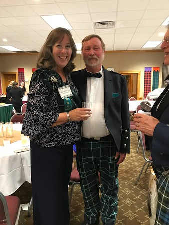 Kathleen and Fred Wheeless and a bit of Richard Graham at the Sponsor's Reception in Banner Elk on Friday evening.
