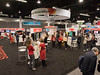 Attendees in Heartquarters during Walking Challenge Booth and Signage