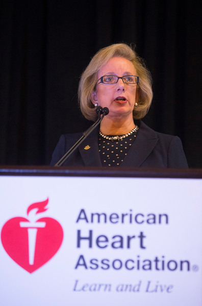 New Orleans, LA - AHA HBPR 2013 : AHA President Mariell Jessup introduces The Irvine Page and Alva Bradley Lifetime Achievement award is presented to Dr. R. Clinton Webb   at the American Heart Association High Blood Pressure Research (HBPR) Meeting here today, Thursday September 12, 2013.  Physicians, researchers and healthcare professionals gathered at the meeting which is being held at the New Orleans Marriott to improve understanding of mechanisms of high blood pressure. Photo by © AHA/Todd Buchanan 2013 Technical Questions: todd@medmeetingiamges.com