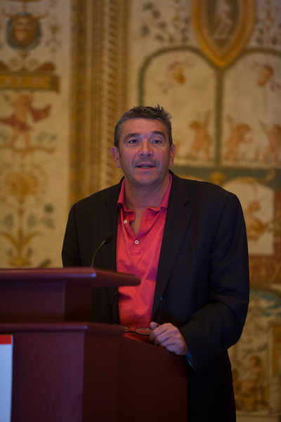 Las Vegas, NV - AHA BCVS 2013 : Walter J. Koch PhD FAHA welcomes attendees   at the American Heart Association Basic Cardiovascular Sciences (BCVS) Meeting here today, Monday July 22, 2013.  Physicians, researchers and healthcare professionals gathered at the meeting which is being held at the Paris Hotel to improve understanding of mechanisms of basic cardiovascular regulation to support the development of new therapies and new insights into clinical cardiovascular disease. Photo by © AHA/Todd Buchanan 2013 Technical Questions: todd@medmeetingiamges.com