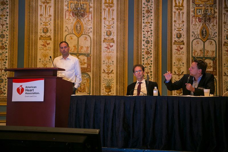 Las Vegas, NV - AHA BCVS 2013 : Wolfram H. Zimmermann, PhD, FAHA, left, and Wolfgang Linke, PhD co-chair the  European Symposia: MicroRNAs and Beyond at the American Heart Association Basic Cardiovascular Sciences (BCVS) Meeting here today, Monday July 22, 2013.  Physicians, researchers and healthcare professionals gathered at the meeting which is being held at the Paris Hotel to improve understanding of mechanisms of basic cardiovascular regulation to support the development of new therapies and new insights into clinical cardiovascular disease. Photo by © AHA/Todd Buchanan 2013 Technical Questions: todd@medmeetingiamges.com