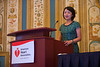 "Las Vegas, NV - AHA BCVS 2013 : Ai-Jun Sun, PhD discusses ""Mitochondrial Aldehyde Dehydrogenase 2 and Ischemic Cardioprotection"" during the   Chinese Symposia: Genes and Genetics of Heart Disease at the American Heart Association Basic Cardiovascular Sciences (BCVS) Meeting here today, Monday July 22, 2013.  Physicians, researchers and healthcare professionals gathered at the meeting which is being held at the Paris Hotel to improve understanding of mechanisms of basic cardiovascular regulation to support the development of new therapies and new insights into clinical cardiovascular disease. Photo by © AHA/Todd Buchanan 2013 Technical Questions: todd@medmeetingiamges.com"
