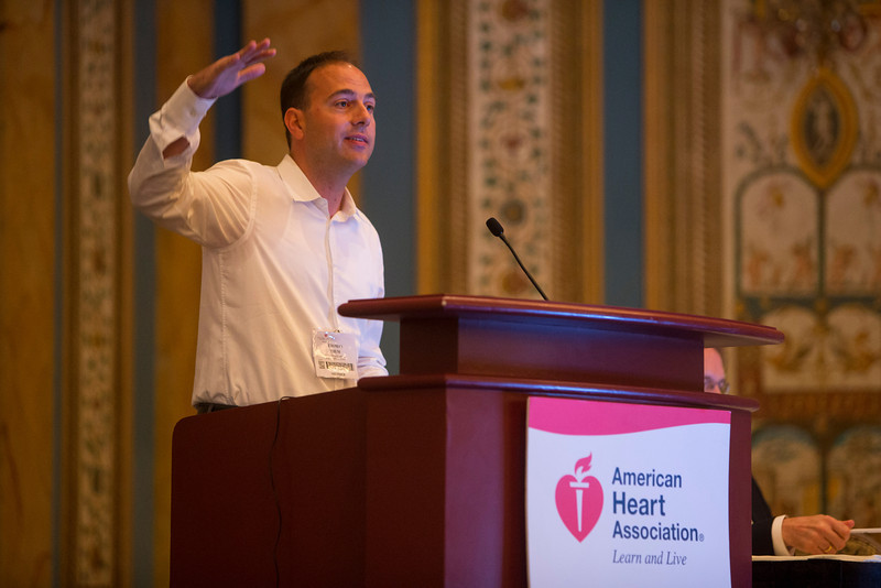 "Las Vegas, NV - AHA BCVS 2013 : Thomas Thum, MD, PhD discusses ""MicroRNA Based Translational Approaches in Cardiovascular Medicine"" during the European Symposia: MicroRNAs and Beyond session at the American Heart Association Basic Cardiovascular Sciences (BCVS) Meeting here today, Monday July 22, 2013.  Physicians, researchers and healthcare professionals gathered at the meeting which is being held at the Paris Hotel to improve understanding of mechanisms of basic cardiovascular regulation to support the development of new therapies and new insights into clinical cardiovascular disease. Photo by © AHA/Todd Buchanan 2013 Technical Questions: todd@medmeetingiamges.com"