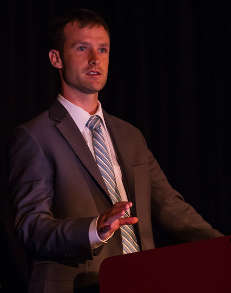 Las Vegas, NV - AHA BCVS 2013 : Nathan R Tucker speaks   at the American Heart Association Basic Cardiovascular Sciences (BCVS) Meeting here today, Thursday July 25, 2013.  Physicians, researchers and healthcare professionals gathered at the meeting which is being held at the Paris Hotel to improve understanding of mechanisms of basic cardiovascular regulation to support the development of new therapies and new insights into clinical cardiovascular disease. Photo by © AHA/Todd Buchanan 2013 Technical Questions: todd@medmeetingiamges.com