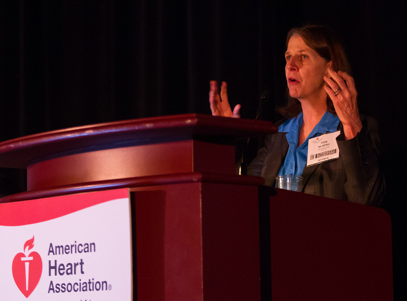 Las Vegas, NV - AHA BCVS 2013 : Elizabeth Murphy, PhD, FAHA speaks   at the American Heart Association Basic Cardiovascular Sciences (BCVS) Meeting here today, Thursday July 25, 2013.  Physicians, researchers and healthcare professionals gathered at the meeting which is being held at the Paris Hotel to improve understanding of mechanisms of basic cardiovascular regulation to support the development of new therapies and new insights into clinical cardiovascular disease. Photo by © AHA/Todd Buchanan 2013 Technical Questions: todd@medmeetingiamges.com