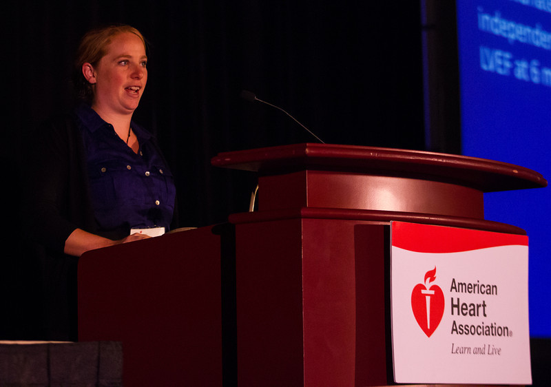 Las Vegas, NV - AHA BCVS 2013 : Kirsty Danielson speaks   at the American Heart Association Basic Cardiovascular Sciences (BCVS) Meeting here today, Thursday July 25, 2013.  Physicians, researchers and healthcare professionals gathered at the meeting which is being held at the Paris Hotel to improve understanding of mechanisms of basic cardiovascular regulation to support the development of new therapies and new insights into clinical cardiovascular disease. Photo by © AHA/Todd Buchanan 2013 Technical Questions: todd@medmeetingiamges.com