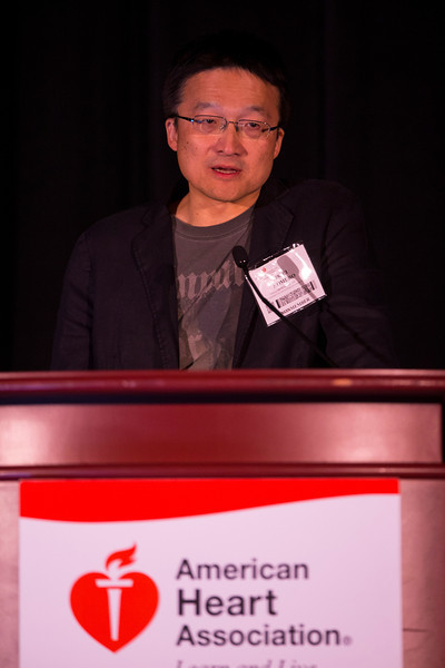 """Las Vegas, NV - AHA BCVS 2013 : Issei Komuro, MD, PhD, discusses """"Wnt Signaling in the Failing Heart"""" during the  Signaling in Heart Failure session at the American Heart Association Basic Cardiovascular Sciences (BCVS) Meeting here today, Tuesday July 23, 2013.  Physicians, researchers and healthcare professionals gathered at the meeting which is being held at the Paris Hotel to improve understanding of mechanisms of basic cardiovascular regulation to support the development of new therapies and new insights into clinical cardiovascular disease. Photo by © AHA/Todd Buchanan 2013 Technical Questions: todd@medmeetingiamges.com"""