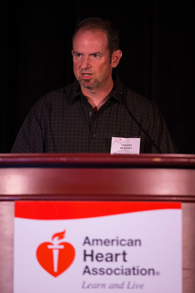 """Las Vegas, NV - AHA BCVS 2013 : Timothy McKinsey, PhD, discusses """"Genome-Wide Screening Identifies Fundamental Pathways of Necrosis"""" during the  Signaling in Heart Failure session at the American Heart Association Basic Cardiovascular Sciences (BCVS) Meeting here today, Tuesday July 23, 2013.  Physicians, researchers and healthcare professionals gathered at the meeting which is being held at the Paris Hotel to improve understanding of mechanisms of basic cardiovascular regulation to support the development of new therapies and new insights into clinical cardiovascular disease. Photo by © AHA/Todd Buchanan 2013 Technical Questions: todd@medmeetingiamges.com"""