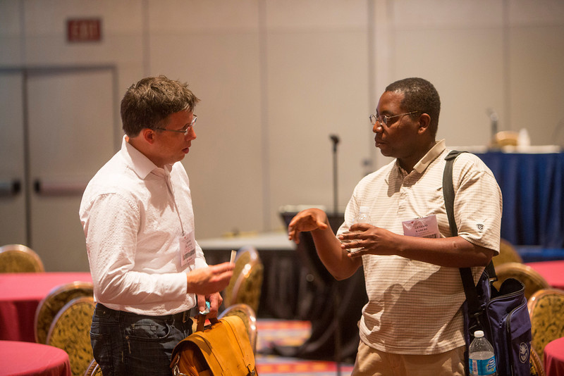 Las Vegas, NV - AHA BCVS 2013 : Attendees ask questions at the Early Career Development Workshop/Lunch   at the American Heart Association Basic Cardiovascular Sciences (BCVS) Meeting here today, Wednesday July 24, 2013.  Physicians, researchers and healthcare professionals gathered at the meeting which is being held at the Paris Hotel to improve understanding of mechanisms of basic cardiovascular regulation to support the development of new therapies and new insights into clinical cardiovascular disease. Photo by © AHA/Todd Buchanan 2013 Technical Questions: todd@medmeetingiamges.com