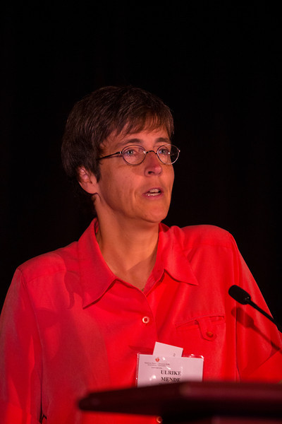 """Las Vegas, NV - AHA BCVS 2013 : Ulrike Mende, MD, FAHA discusses """"Cardiac Microtissues and Diversity of Applications"""" during the  Cardiac Growth and Cross-Talk session at the American Heart Association Basic Cardiovascular Sciences (BCVS) Meeting here today, Wednesday July 24, 2013.  Physicians, researchers and healthcare professionals gathered at the meeting which is being held at the Paris Hotel to improve understanding of mechanisms of basic cardiovascular regulation to support the development of new therapies and new insights into clinical cardiovascular disease. Photo by © AHA/Todd Buchanan 2013 Technical Questions: todd@medmeetingiamges.com"""