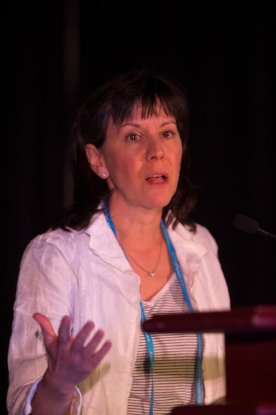 "Las Vegas, NV - AHA BCVS 2013 : Elizabeth McNally, MD, PhD discusses ""Genetic Modifiers of Cardiomyopathy"" during the  Systems and Genetics session at the American Heart Association Basic Cardiovascular Sciences (BCVS) Meeting here today, Wednesday July 24, 2013.  Physicians, researchers and healthcare professionals gathered at the meeting which is being held at the Paris Hotel to improve understanding of mechanisms of basic cardiovascular regulation to support the development of new therapies and new insights into clinical cardiovascular disease. Photo by © AHA/Todd Buchanan 2013 Technical Questions: todd@medmeetingiamges.com"