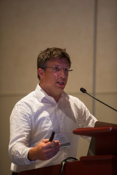 "Las Vegas, NV - AHA BCVS 2013 : Burns C. Blaxall, PhD, FAHA discusses ""Preparing for the big dance: steps along the road from student to faculty"" during the  Early Career Development Workshop/Lunch session at the American Heart Association Basic Cardiovascular Sciences (BCVS) Meeting here today, Wednesday July 24, 2013.  Physicians, researchers and healthcare professionals gathered at the meeting which is being held at the Paris Hotel to improve understanding of mechanisms of basic cardiovascular regulation to support the development of new therapies and new insights into clinical cardiovascular disease. Photo by © AHA/Todd Buchanan 2013 Technical Questions: todd@medmeetingiamges.com"