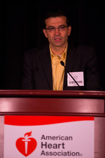 "Las Vegas, NV - AHA BCVS 2013 : Nenad Bursac, PhD discusses ""iPS Cell-Based Heart Muscle Engineering"" during the  Cardiac Growth and Cross-Talk session at the American Heart Association Basic Cardiovascular Sciences (BCVS) Meeting here today, Wednesday July 24, 2013.  Physicians, researchers and healthcare professionals gathered at the meeting which is being held at the Paris Hotel to improve understanding of mechanisms of basic cardiovascular regulation to support the development of new therapies and new insights into clinical cardiovascular disease. Photo by © AHA/Todd Buchanan 2013 Technical Questions: todd@medmeetingiamges.com"
