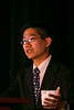 "Las Vegas, NV - AHA BCVS 2013 : Gene Kim discusses ""Downregulation of Connexin43 by MicroRNA-130a Results in Cardiac Arrhythmias"" during the  Arrhythmia Triggers session during the American Heart Association Basic Cardiovascular Sciences (BCVS) Meeting here today, Wednesday July 24, 2013.  Physicians, researchers and healthcare professionals gathered at the meeting which is being held at the Paris Hotel to improve understanding of mechanisms of basic cardiovascular regulation to support the development of new therapies and new insights into clinical cardiovascular disease. Photo by © AHA/Todd Buchanan 2013 Technical Questions: todd@medmeetingiamges.com"