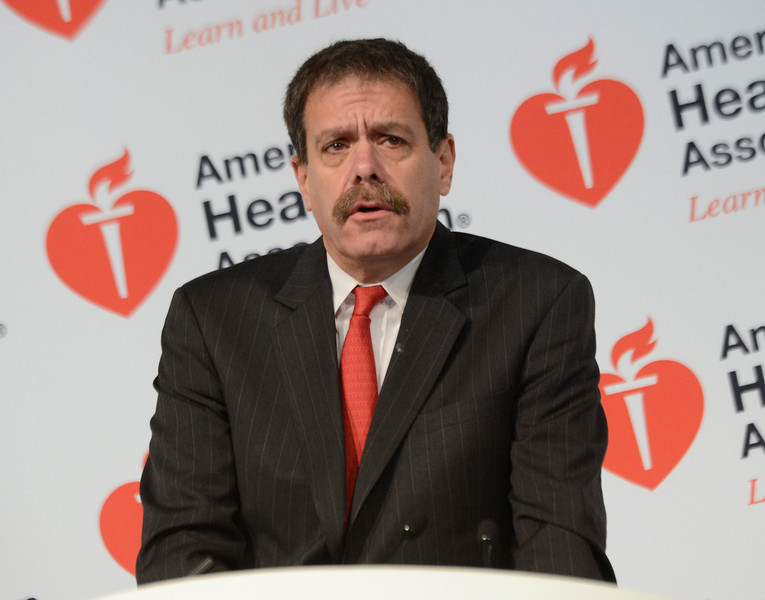 Dallas, TX - AHA 2013 Scientific Sessions - Michael Acker, M.D. speaks during Press Conference: Late Breaking Clinical Trials 3  here today, Monday November 18, 2013 during the American Heart Associations Scientific Sessions being held here at the Dallas Convention Center. Scientific Sessions is the leading cardiovascular meeting for basic, translational, clinical and population science, in the United States, with more 18,000 cardiovascular experts from more than 105 countries attending the meeting. Photo by © AHA/Phil McCarten 2013 Technical Questions: todd@medmeetingimages.com
