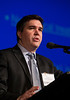 San Francisco, CA - AHA 2014 EPI/NPAM - Marco Dauriz, MD, discusses A newly identified rare variant (chr11:47227430) with possible functional activity is associated with fasting insulin at the chromosome 11p11.2-NR1H3 locus in the Cohorts for Heart and Aging Research in Genetic Epidemiology Targeted Sequencing Study (CHARGE-TSS) during the Genetics session here today, Friday March 21, 2014 at the American Heart Associations EPI/NPAM Sessions being held here at the San Francisco Hilton. Over 750 attendees discussed the latest lifestyle research in cardiovascular health. Photo by © AHA/Todd Buchanan 2014 Technical Questions: todd@medmeetingimages.com