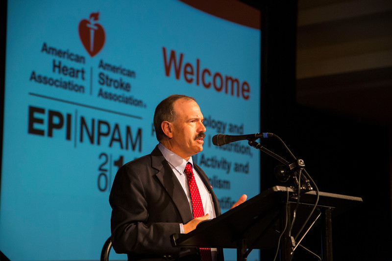 San Francisco, CA - AHA 2014 EPI/NPAM - James B Meigs, MD, Co-Chair welcomes attendees during the opening session here today, Wednesday March 19, 2014 during the American Heart Associations EPI/NPAM Sessions being held here at the San Francisco Hilton. Over 750 attendees discussed the latest lifestyle research in cardiovascular health. Photo by © AHA/Todd Buchanan 2014 Technical Questions: todd@medmeetingimages.com