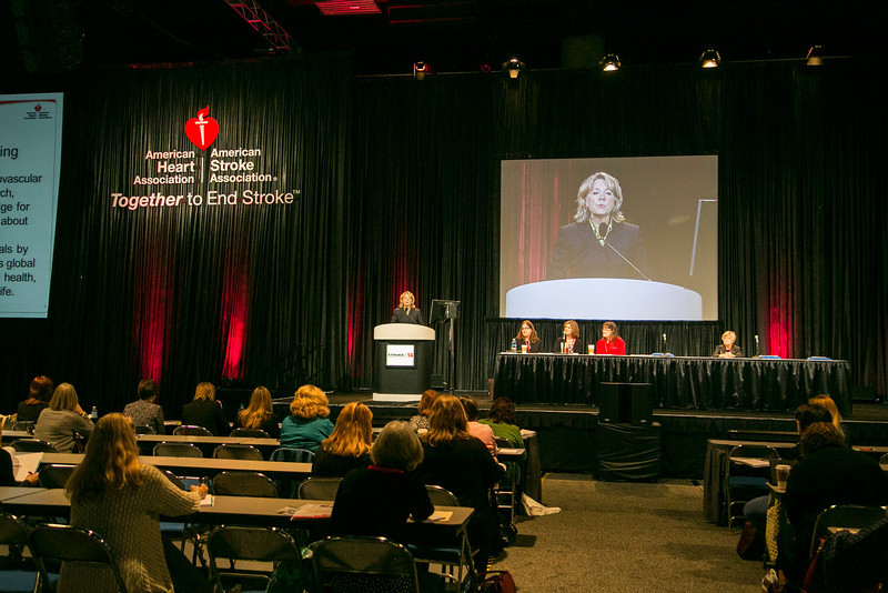 San Diego, CA - ISC 2014 - Mariann Piano, PhD RN FAHA, Chair, Council on Cardiovascular and Stroke Nursing addresses the State-of-the-Science Stroke Nursing Symposium: Plenary Session  here today, Tuesday February 11, 2014 during the International Stroke Conference being held here at the San Diego Convention Center. ISC is the leading  meeting for research in stroke for basic, translational, clinical and population science, in the United States, with more 3,000 cardiovascular experts from more than 100 countries attending the meeting. Photo by © AHA/Todd Buchanan 2014 Technical Questions: todd@medmeetingimages.com