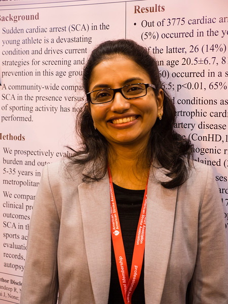 Reshmy Jayaraman, MD with poster  during Cardiac Arrest in Sports versus Sedentary Settings in Young Patients (control 16040); Reshmy Jayaraman