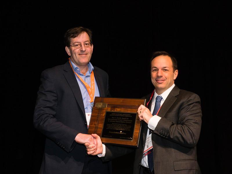 Thomas Rea, MD, MPH, on behalf of Resuscitation Academy recevies the  Ian G. Jacobs Award for International Group Collaboration to Advance Resuscitation Science during the 2016 Award Presentations: Ian G. Jacobs Award for International Group Collaboration to Advance Resuscitation Science