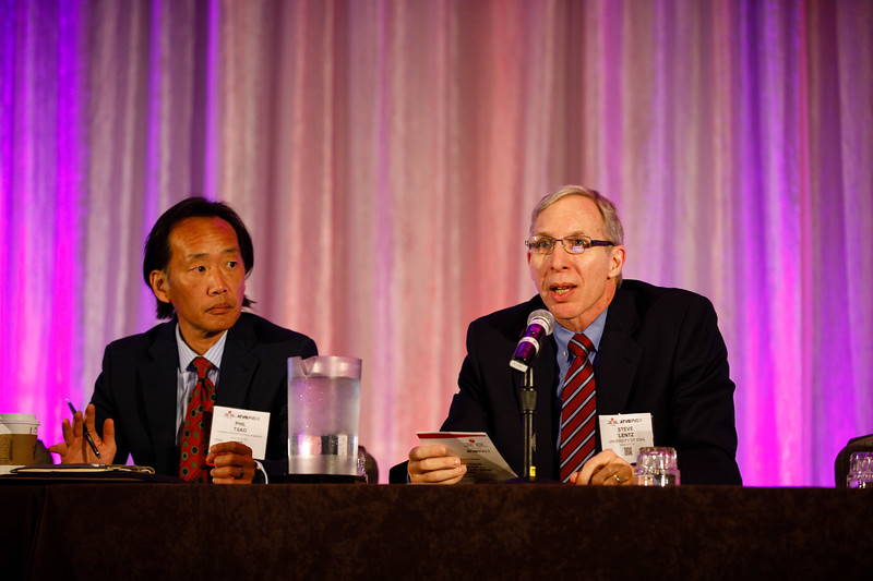 Steven Lentz and Philip S. Tsao moderate during Plenary Session