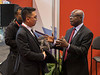 AHA President Ivor Benjamin speaks with early career members during FIT Meeting the AHA Leadership