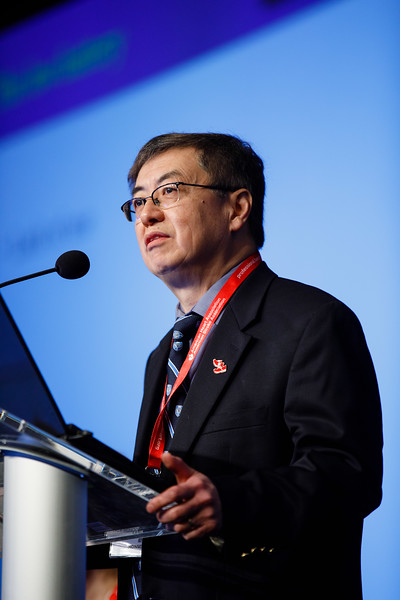 John Hwa, MD, PhD, FRACP, speaks during Plenary III