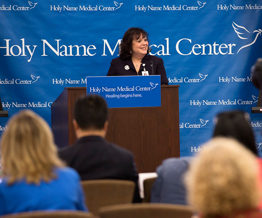 Administrators and physicians of Holy Name Medical Center's Asian Health Services addressed Chinese and American media at a press conference announcing the launch of the Chinese Medical Program. The press conference was held at The medical center in Teaneck, NJ on March 19, 2015. Photo By Jeff Rhode / Holy Name Medical Center