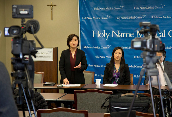 The Korean Medical Program at Holy Name Medical Center held a press conference to celebrate a $1 million donation from the Grace & Mercy Foundation to KMP over the five year period. This includes  its commitment of $200,000 in 2014. The donated money helps fund public health programs to the Korean community in Teaneck and surrounding areas. Here Kyung Hee Choi, VP of the Korean Medical Program, addresses the press. 1/13/14 Photo By Jeff Rhode / Holy Name Medical Center