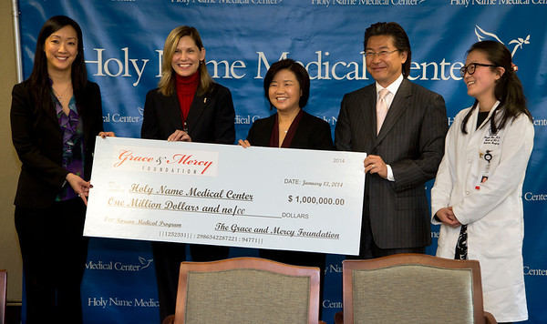 The Korean Medical Program at Holy Name Medical Center held a press conference to celebrate a $1 million donation from the Grace & Mercy Foundation to KMP over the five year period. This includes  its commitment of $200,000 in 2014. The donated money helps fund public health programs to the Korean community in Teaneck and surrounding areas. <br /> (LtoR) are Esther Bhandari, Director, The Grace and Mercy Foundation; Celester Oranchak, HNMC Foundation; Kyung Hee Choi, VP of the Korean Medical Program; Dr. Hee K. Yang, Medical Director of the KMP; and Dr. Yanghee Woo, HNMC Surgery Division and Director of Global Excellence in Gastric Cancer Care, Columbia University Medical Center.  <br /> <br /> 1/13/14 Photo By Jeff Rhode / Holy Name Medical Center