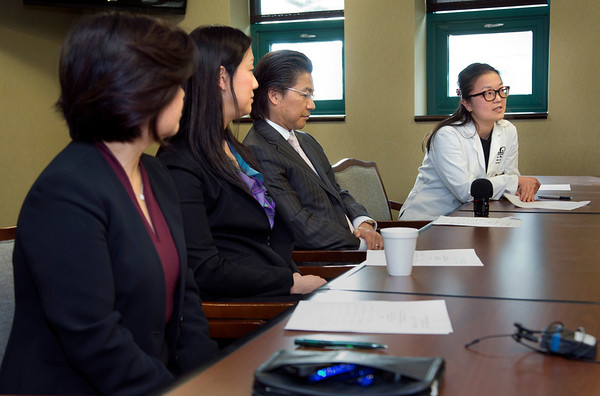 The Korean Medical Program at Holy Name Medical Center held a press conference to celebrate a $1 million donation from the Grace & Mercy Foundation to KMP over the five year period. This includes  its commitment of $200,000 in 2014. The donated money helps fund public health programs to the Korean community in Teaneck and surrounding areas. (LtoR) are Kyung Hee Choi, VP of the Korean Medical Program; Esther Bhandari, Director, The Grace and Mercy Foundation; Dr. Hee K. Yang, Medical Director of the KMP; and Dr. Yanghee Woo, HNMC Surgery Division and Director of Global Excellence in Gastric Cancer Care, Columbia University Medical Center. 1/13/14 Photo By Jeff Rhode / Holy Name Medical Center