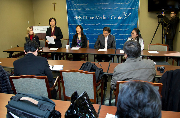 The Korean Medical Program at Holy Name Medical Center held a press conference to celebrate a $1 million donation from the Grace & Mercy Foundation to KMP over the five year period. This includes  its commitment of $200,000 in 2014. The donated money helps fund public health programs to the Korean community in Teaneck and surrounding areas. (LtoR) are Celester Oranchak, HNMC Foundation; Kyung Hee Choi, VP of the Korean Medical Program; Esther Bhandari, Director, The Grace and Mercy Foundation; Dr. Hee K. Yang, Medical Director of the KMP; and Dr. Yanghee Woo, HNMC Surgery Division and Director of Global Excellence in Gastric Cancer Care, Columbia University Medical Center.  1/13/14 Photo By Jeff Rhode / Holy Name Medical Center