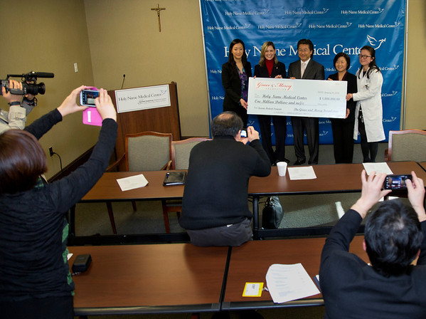The Korean Medical Program at Holy Name Medical Center held a press conference to celebrate a $1 million donation from the Grace & Mercy Foundation to KMP over the five year period. This includes  its commitment of $200,000 in 2014. The donated money helps fund public health programs to the Korean community in Teaneck and surrounding areas. <br /> (LtoR) are Esther Bhandari, Director, The Grace and Mercy Foundation; Celester Oranchak, HNMC Foundation; Dr. Hee K. Yang, Medical Director of the KMP; Kyung Hee Choi, VP of the Korean Medical Program; and Dr. Yanghee Woo, HNMC Surgery Division and Director of Global Excellence in Gastric Cancer Care, Columbia University Medical Center.   1/13/14 Photo By Jeff Rhode / Holy Name Medical Center
