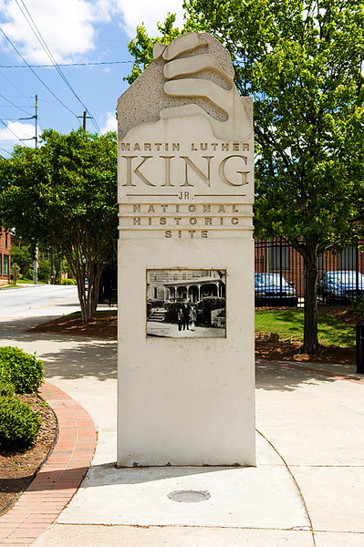 Entrance marker for Martin Luther King National Historic Site at end of the International Civil Rights Walk of Fame