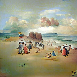 painting of a beach scene in summer