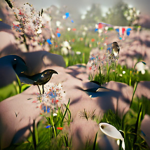 a meadow one morning in May with birds and flowers, unreal engin